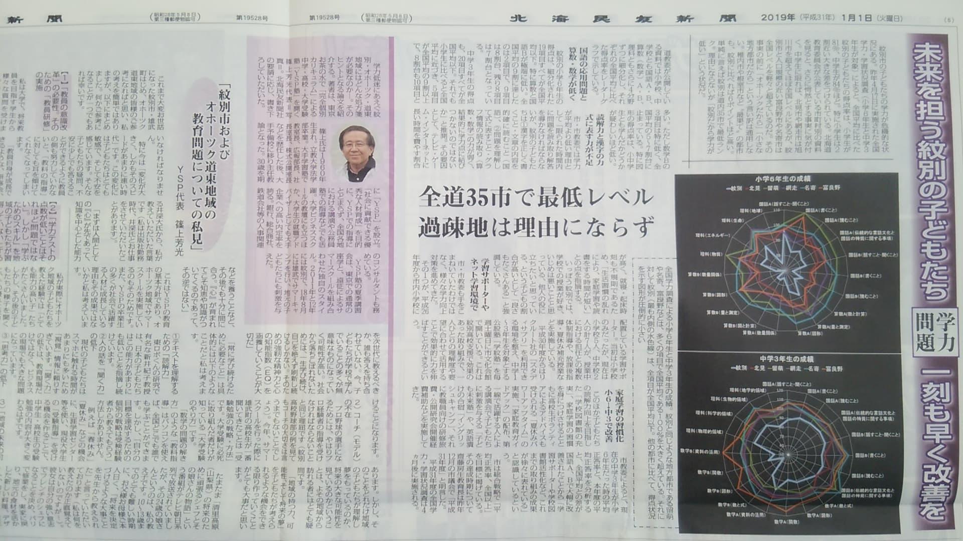 2019年1月1日北海民友新聞・篠上芳光記事②